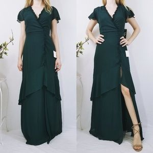 Pour The Champagne Green Ruffled Backless Dress